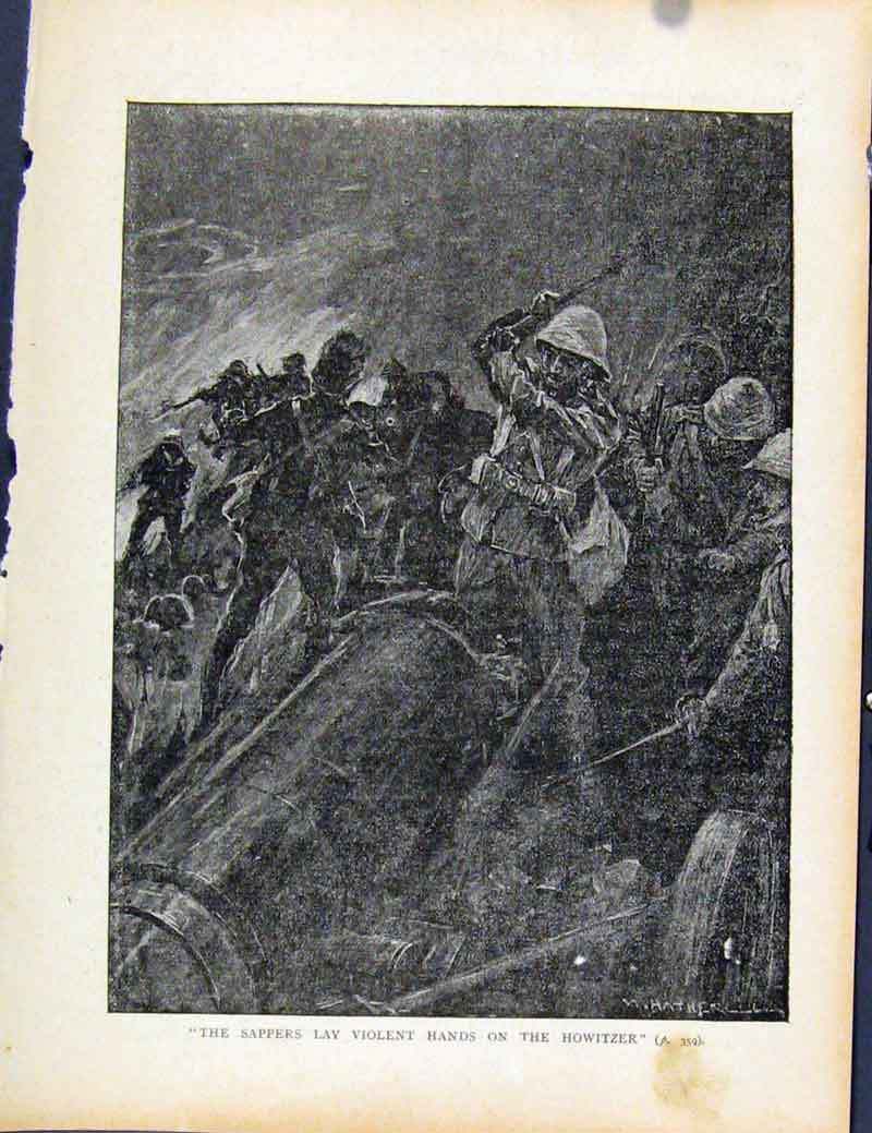 Print Boer War By Richard Danes Sappers Lay Violent Howitzer 627871 Old Original