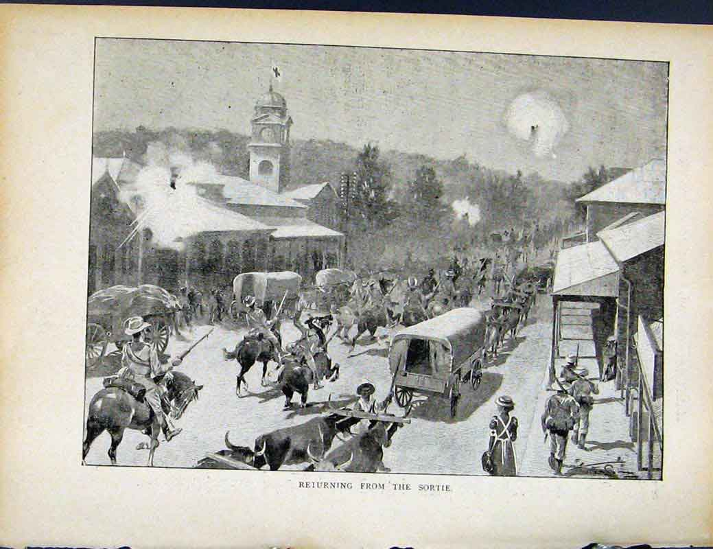 Print Boer War By Richard Danes Returning From Sortie 637871 Old Original