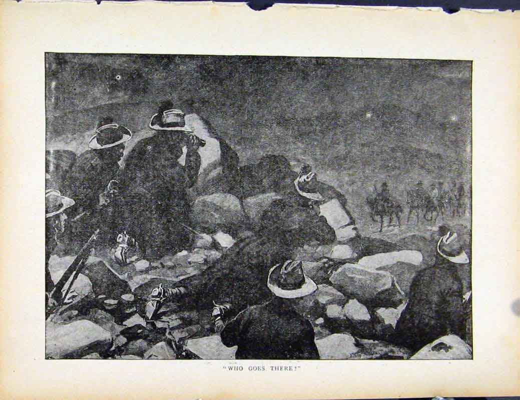 Print Boer War By Richard Danes Who Goes There 847871 Old Original