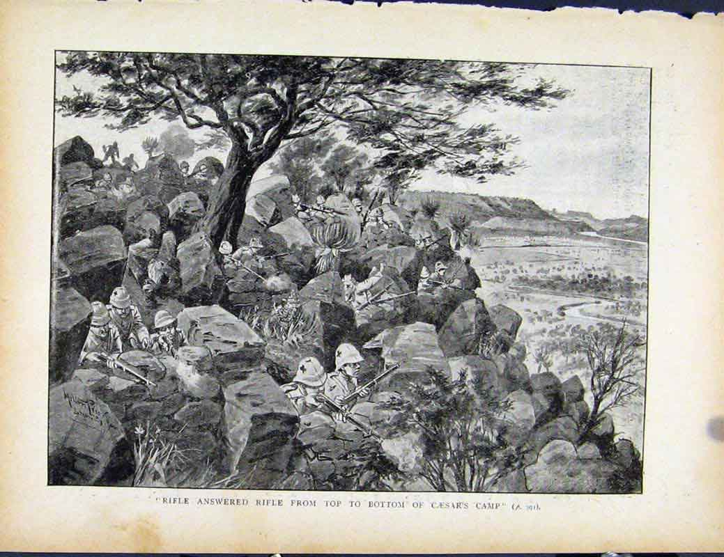 Print Boer War By Richard Danes Rifle Answered Rifle Caesars 907871 Old Original