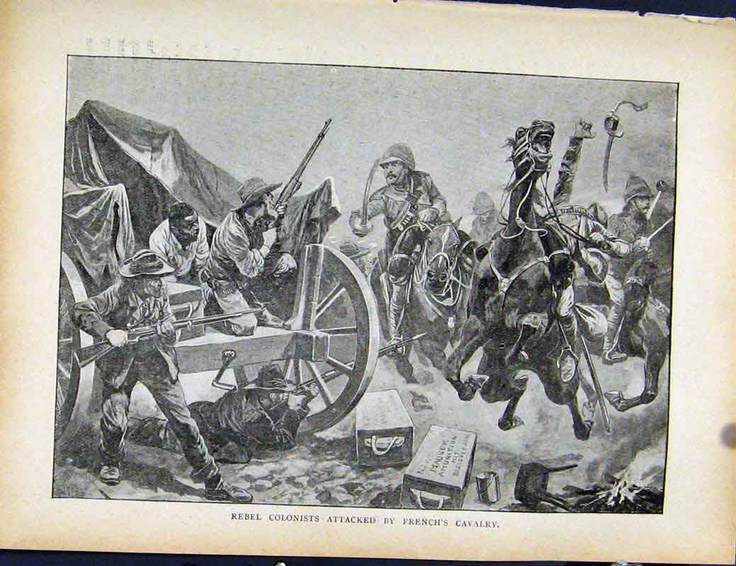 Print Boer War Richard Danes Rebel Colonists French Calvary 107871 Old Original