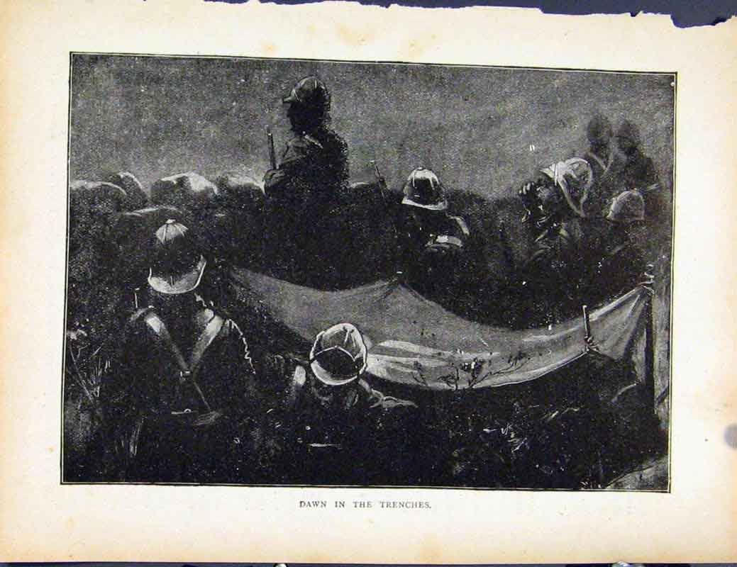 Print Boer War By Richard Danes Dawn In The Trenches 487871 Old Original