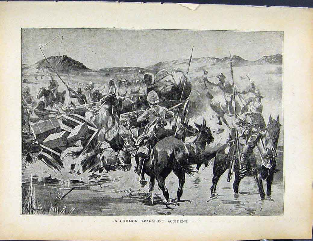 Print Boer War By Richard Danes Common Transpport Accident 747871 Old Original
