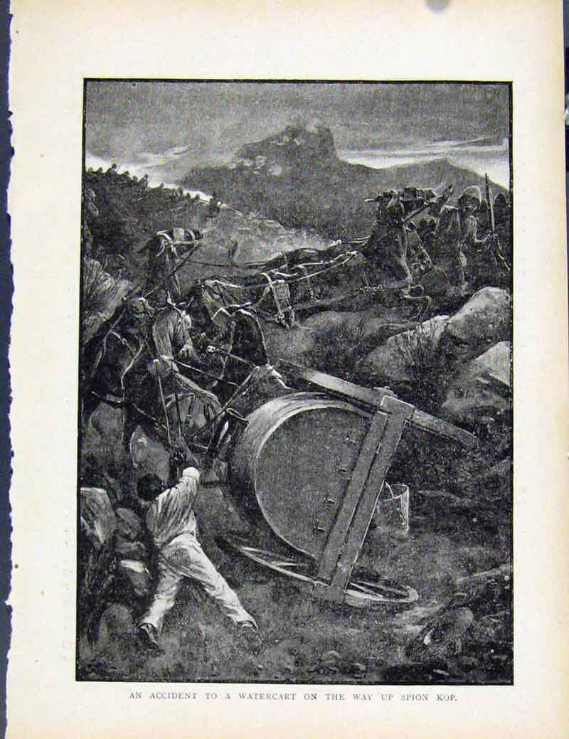 Print Boer War By Richard Danes Accident Watercart Spion Kop 907871 Old Original