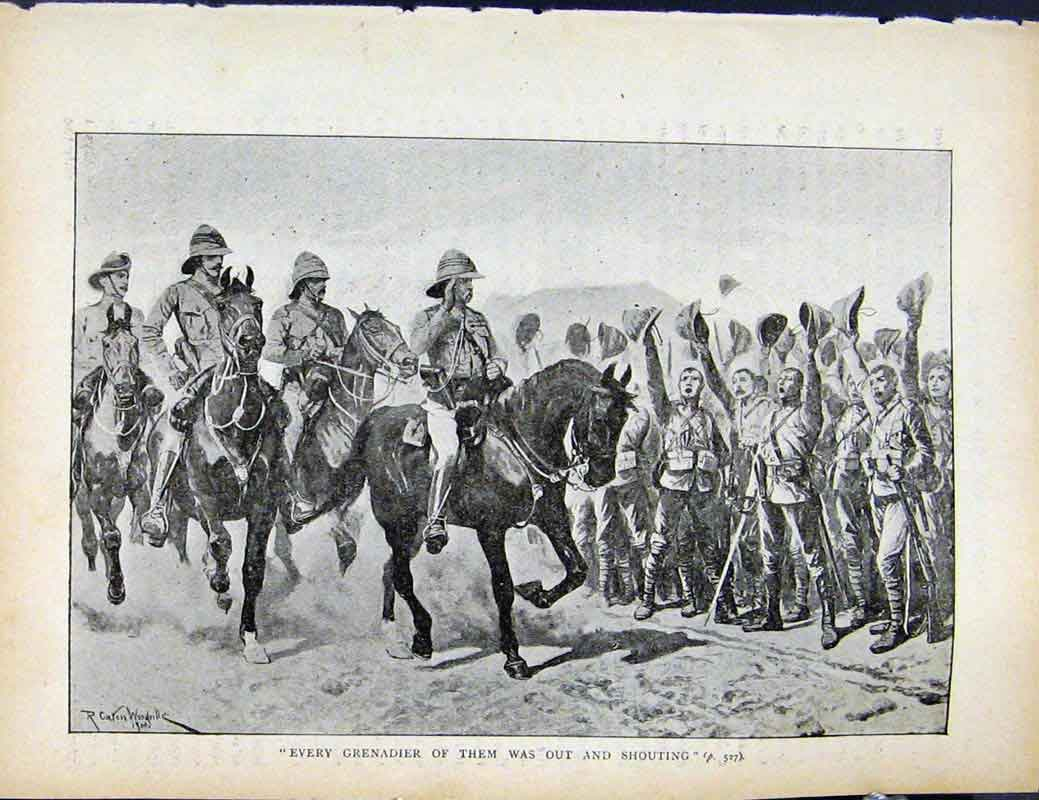Print Boer War By Richard Danes Every Grenadier Shouting 247871 Old Original
