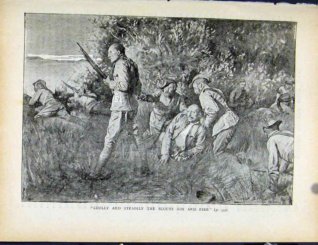Print Boer War By Richard Danes Coolly Steadily Scouts Fire 367871 Old Original