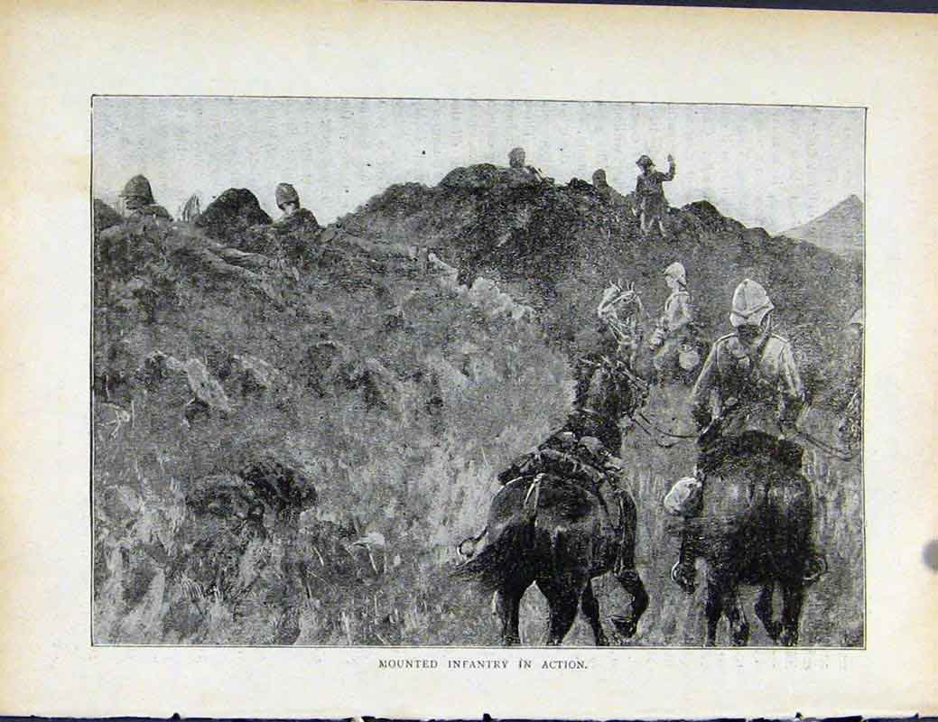 Print Boer War By Richard Danes Mounted Infantry Action 397871 Old Original