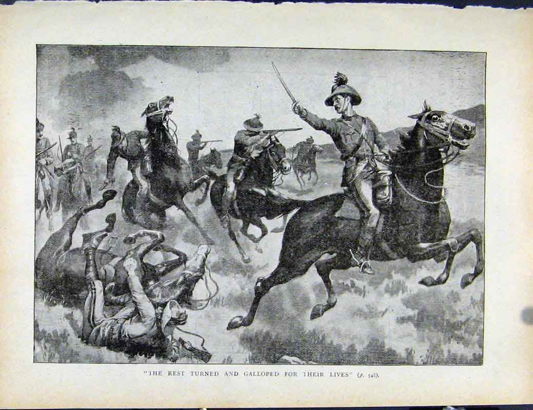 Print Boer War By Richard Danes Turned And Galloped Off 507871 Old Original