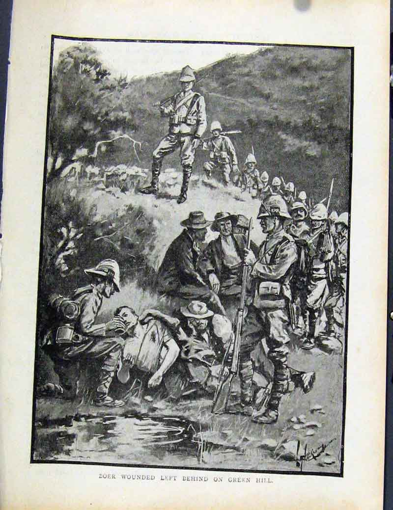Print Boer War By Richard Danes Boer Wounded Green Hill 007871 Old Original