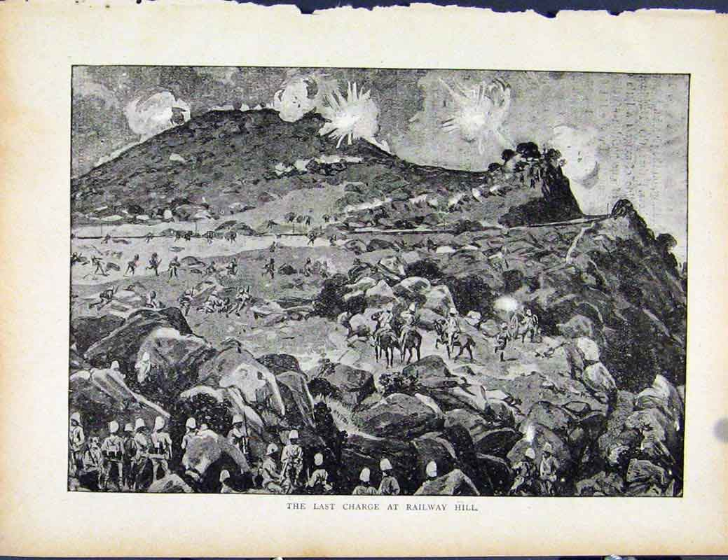Print Boer War By Richard Danes To The Rescue British Man 107871 Old Original