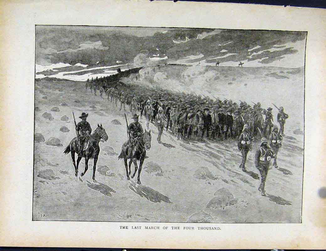 Print Boer War By Richard Danes Last March Four Thousand 547871 Old Original