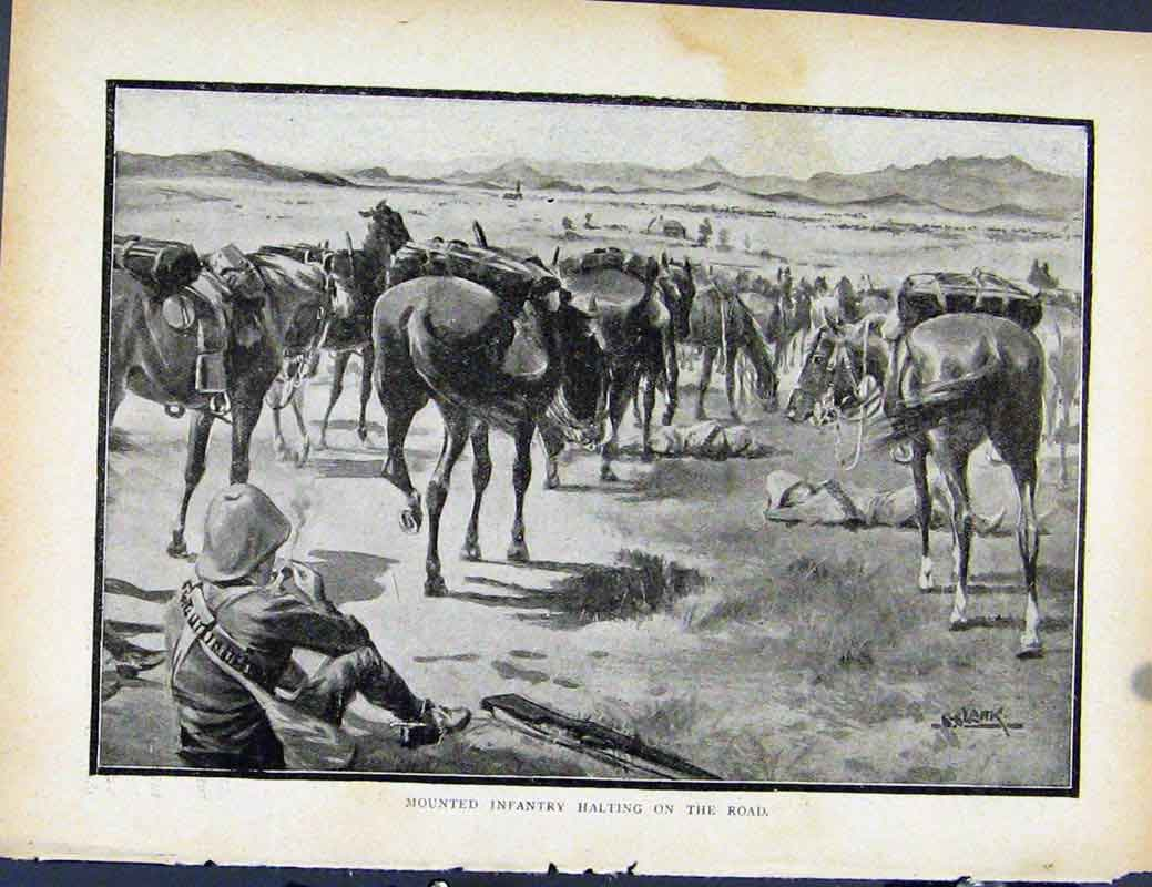 Print Boer War By Richard Danes Mounted Infantry Halting 457871 Old Original