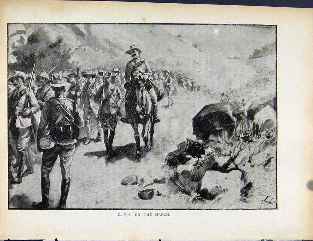 Print Boer War By Richard Danes Civs On The March 597871 Old Original