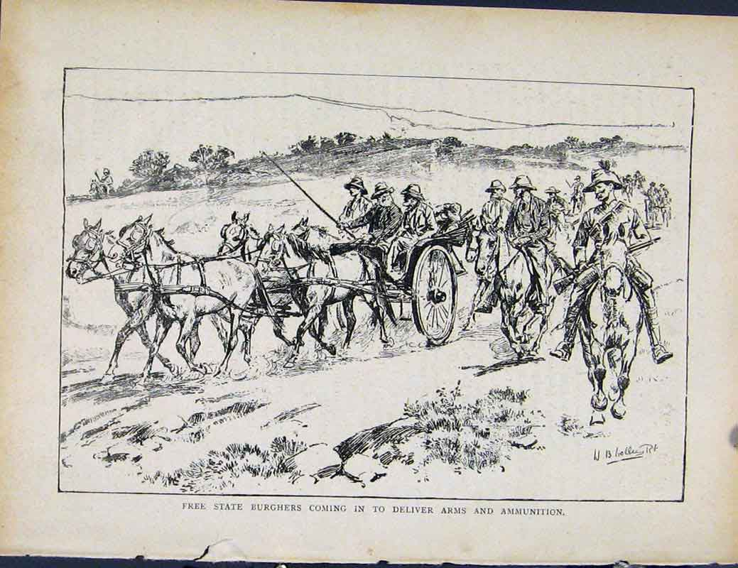 Print Boer War Richard Danes Free State Burghers Deliver Arms 797871 Old Original
