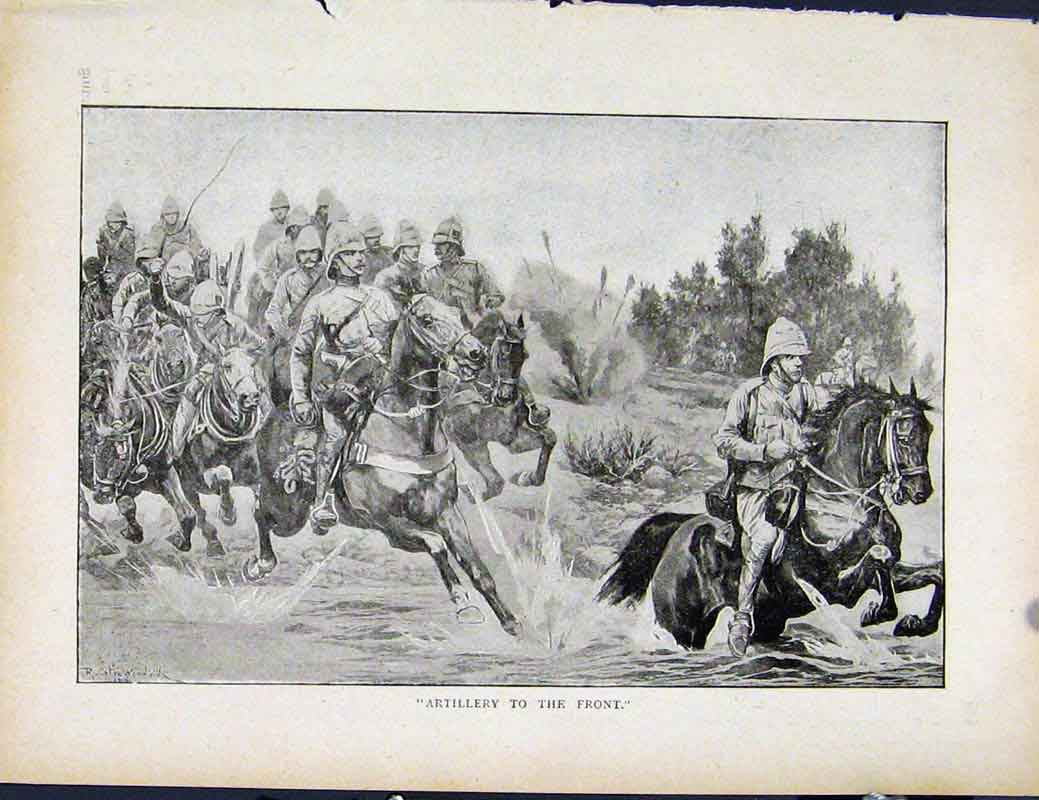 Print Boer War By Richard Danes Artillery To The Front 907871 Old Original