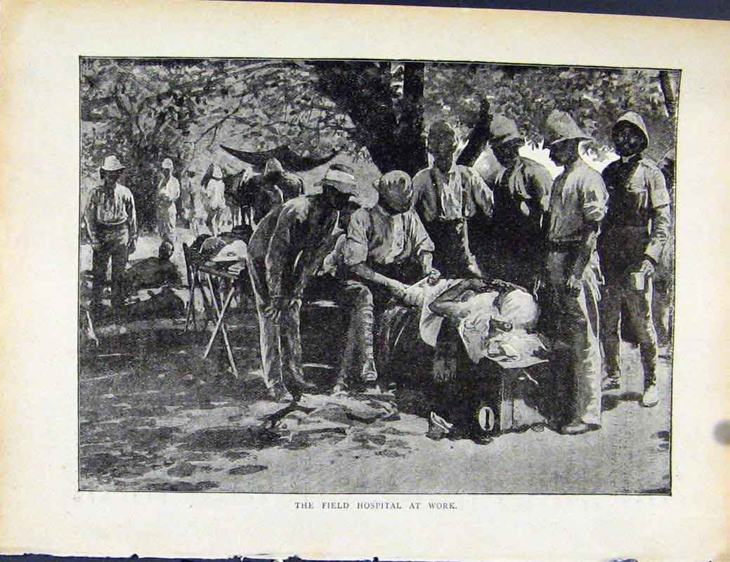 [Print Boer War By Richard Danes Field Hospital At Work 077871 Old Original]