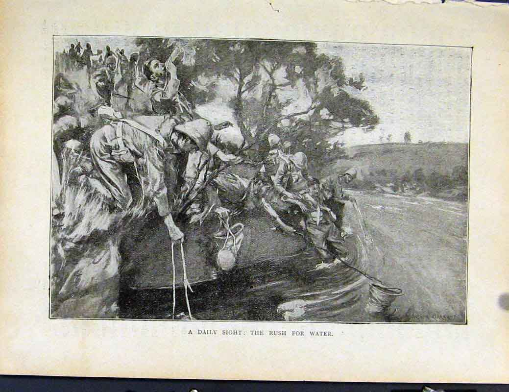 Print Boer War By Richard Danes Daily Sight Rush For Water 587871 Old Original