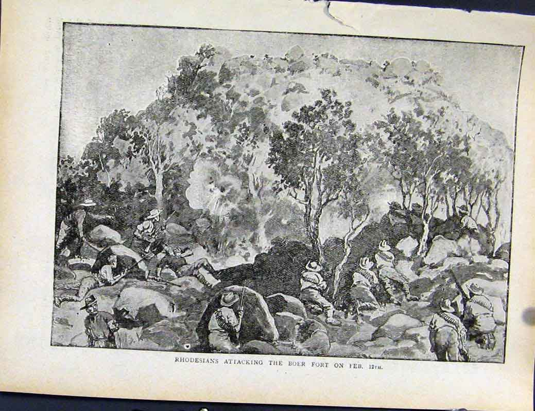 Print Boer War By Richard Danes Rhodesians Attacking Boer 747871 Old Original