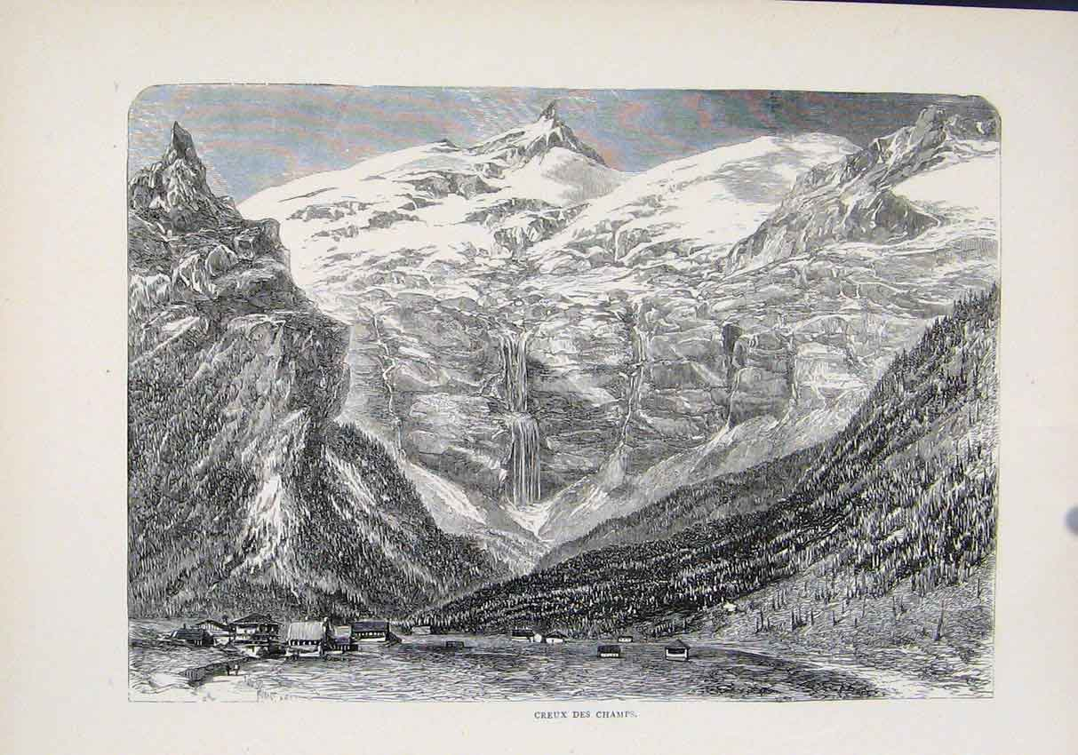 Print Creux Des Champs Village Mountain C1890 747881 Old Original
