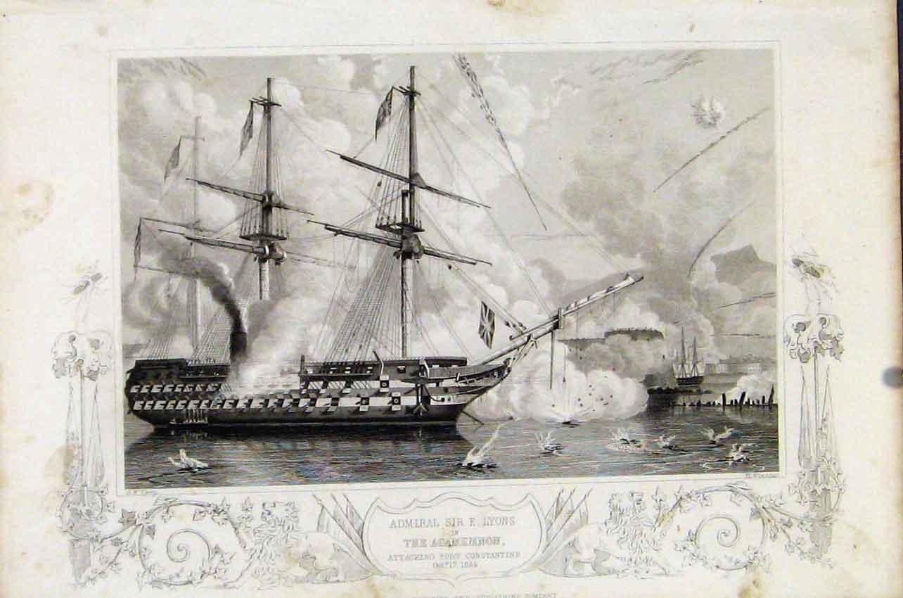 Print Admiral Sir Agamemnon Attacking Fort Constantine C1855 127891 Old Original