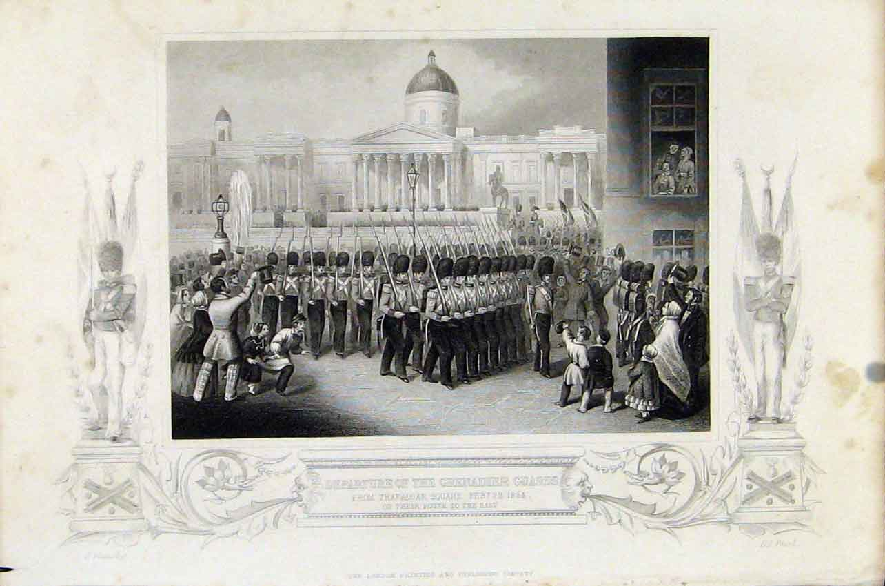 Print Depature Grenadier Guards Trafalgar Square 267891 Old Original