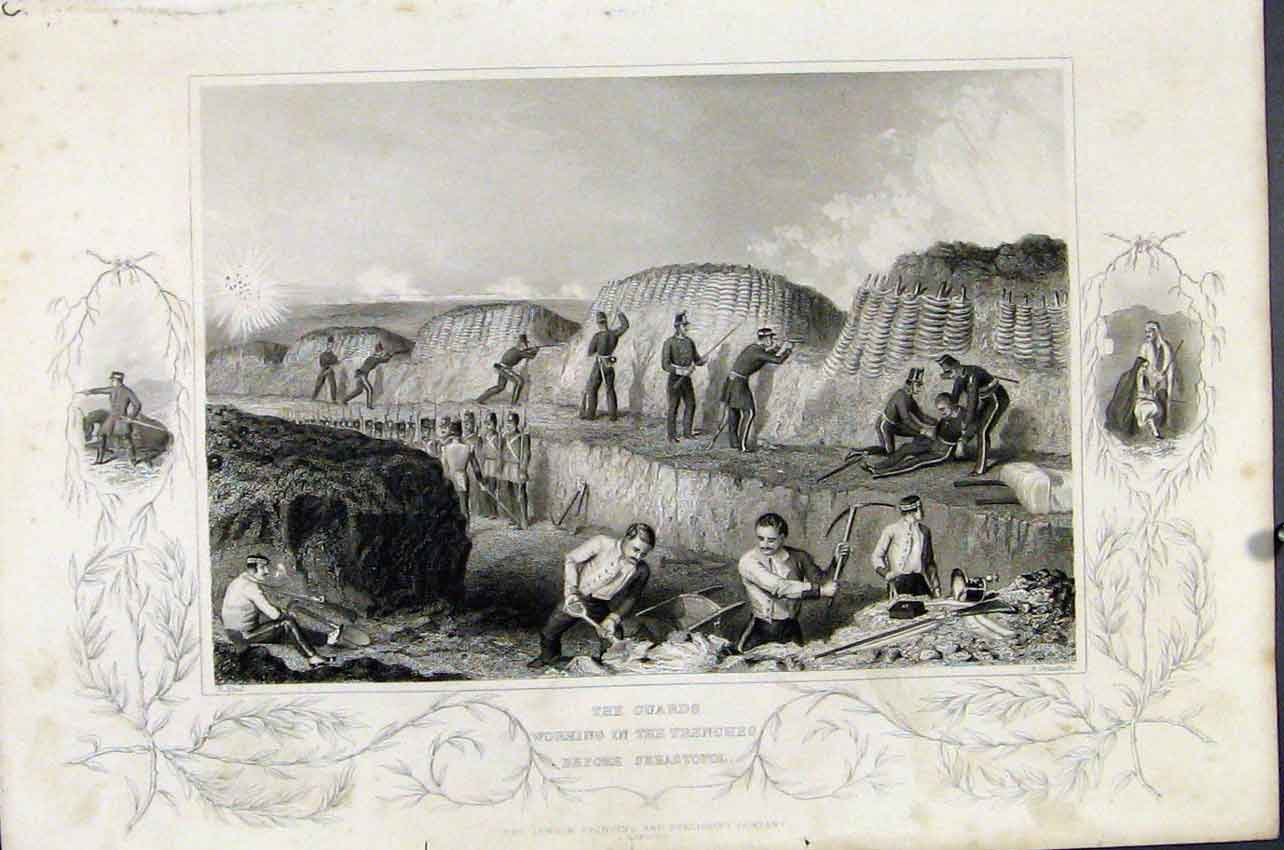 Print Working Trenches Debastopol C1855 517891 Old Original
