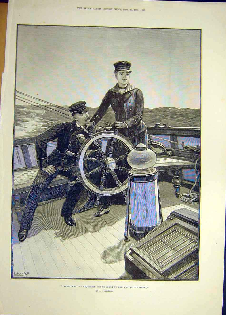 Print 1890 Passengers Man Wheel Ship Sailor Lady Forestier 017921 Old Original