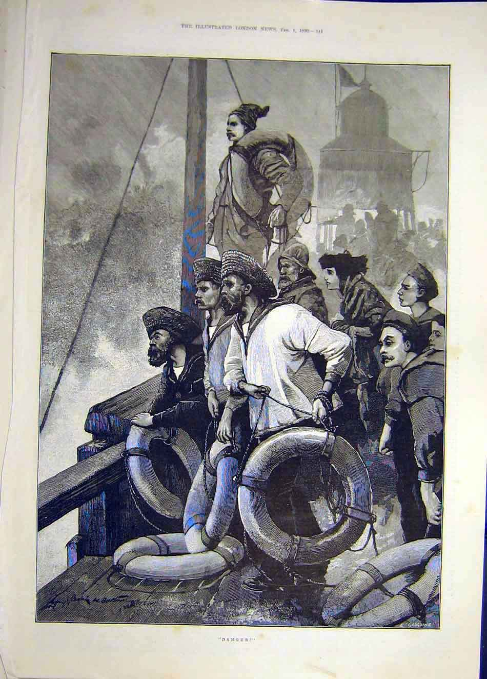 Print 1890 Danger Ship Sailoors Sea Boat Storm 037921 Old Original