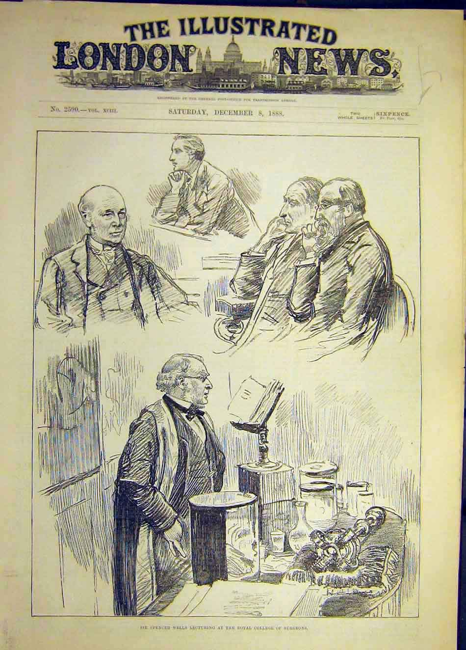 Print Spencer-1888 Wells Surgeon College Royal Medical 087921 Old Original