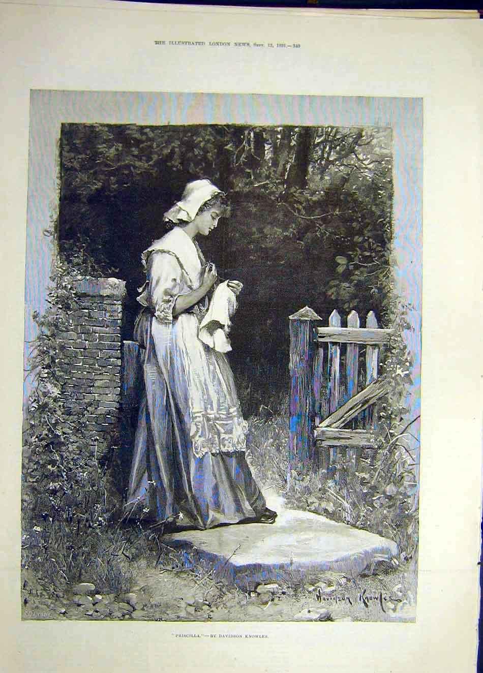 Print 1891 Priscilla Portrait Knowles Lady Garden Sewing 137921 Old Original