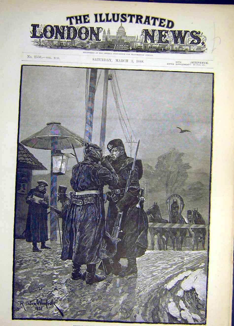 Print 1888 Russian German Frontier Guards Exchanginf Fire 177921 Old Original