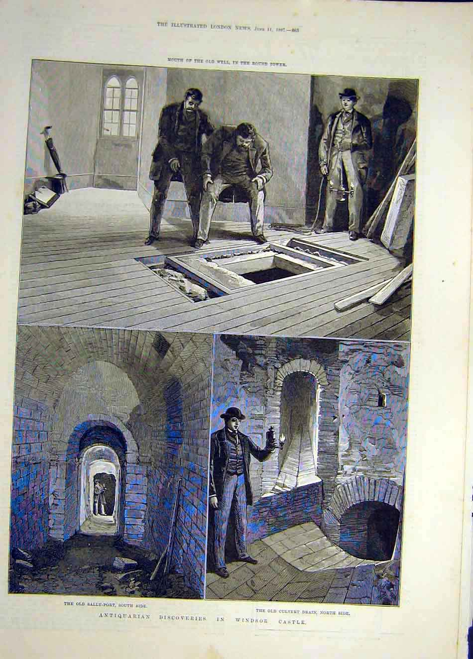 Print 1887 Old-Well Round-Tower Windsor Castle Sally-Port 207921 Old Original