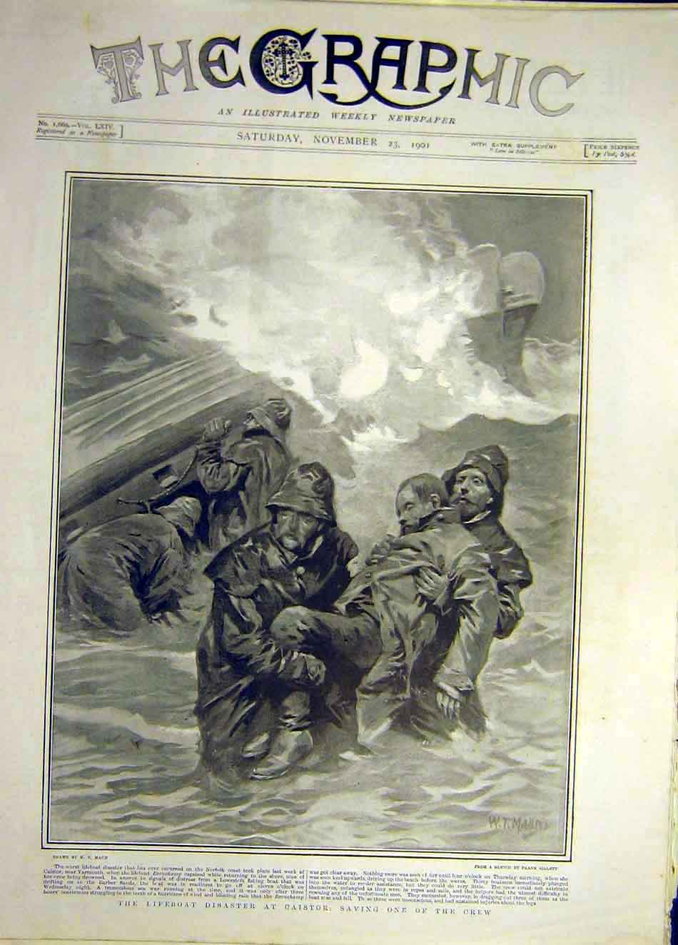 Print 1901 Lifeboat Disaster Caistor Crew Norfolk 247921 Old Original