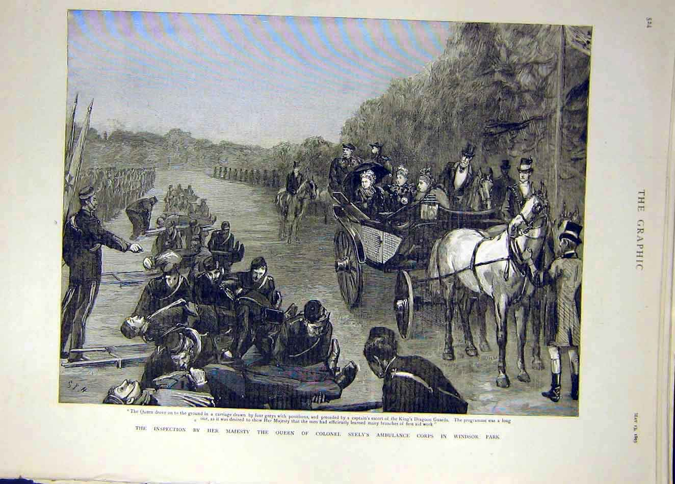 Print 1893 Queen Colonel Seely Ambulance Corps Windsor Park 267921 Old Original