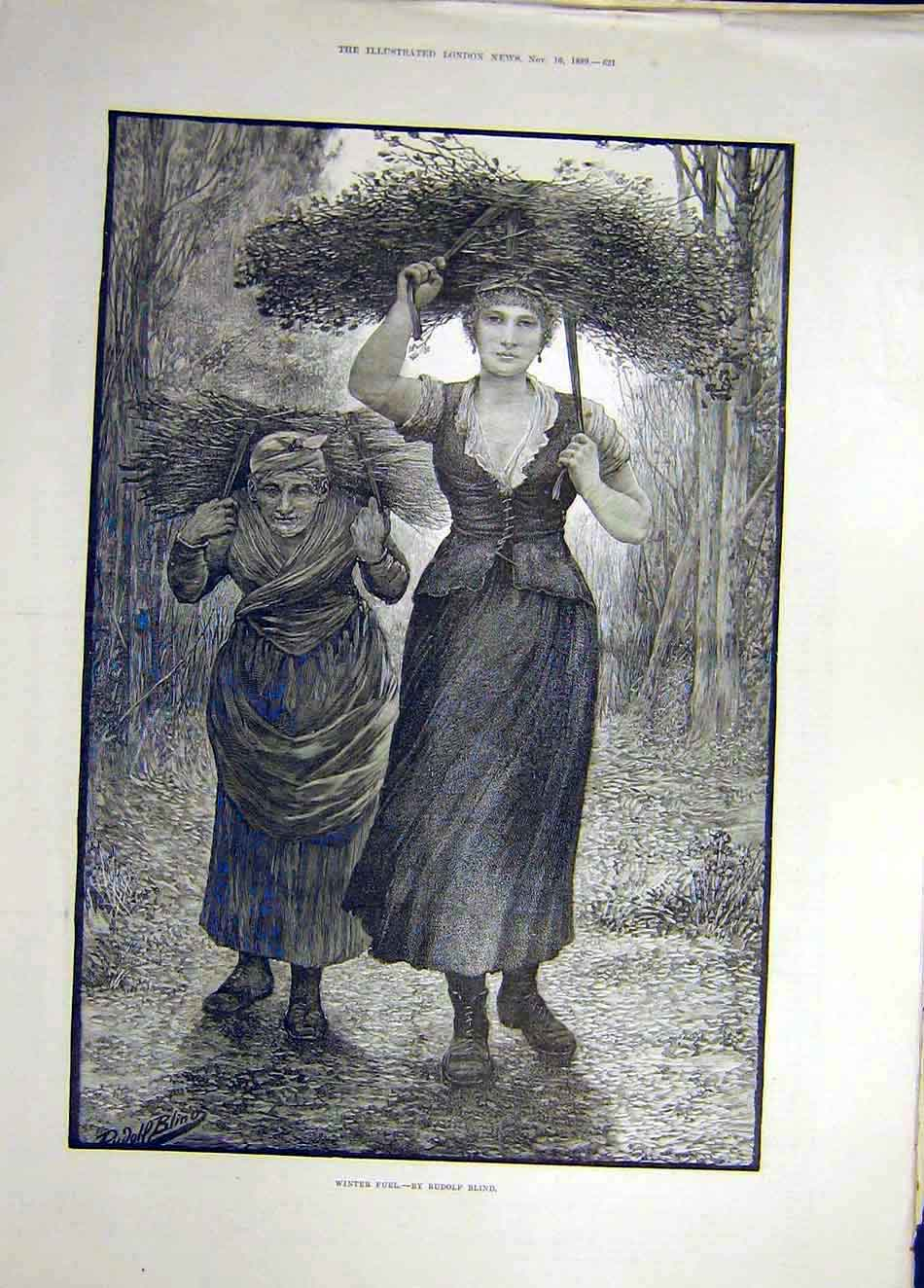 Print 1889 Winter-Fuel Rudolph Blind Fine Art Firewood Ladies 277921 Old Original