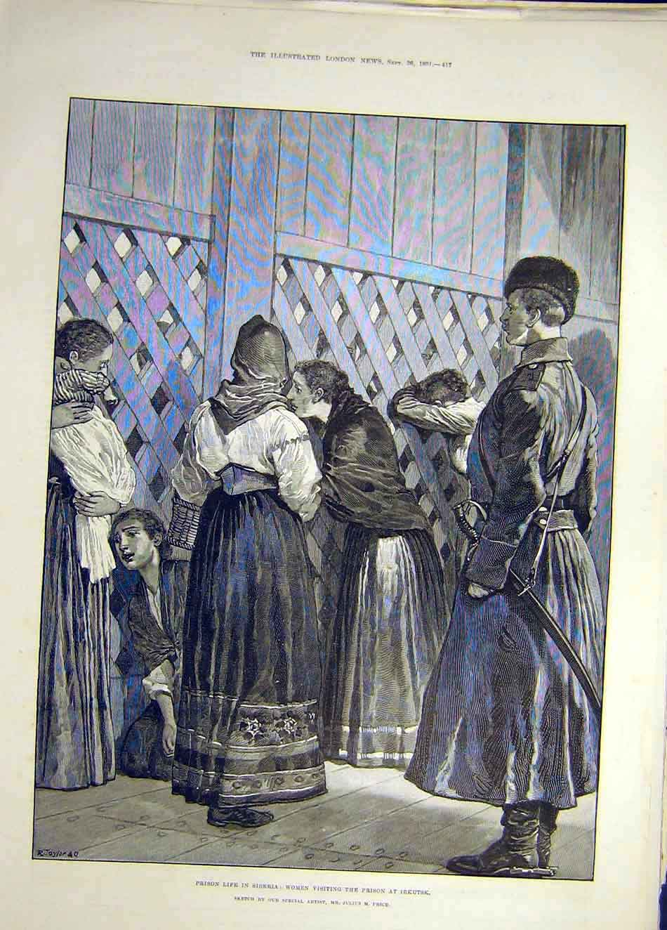 Print 1891 Prison Life Siberia Women Visitors Irkutsk 297921 Old Original