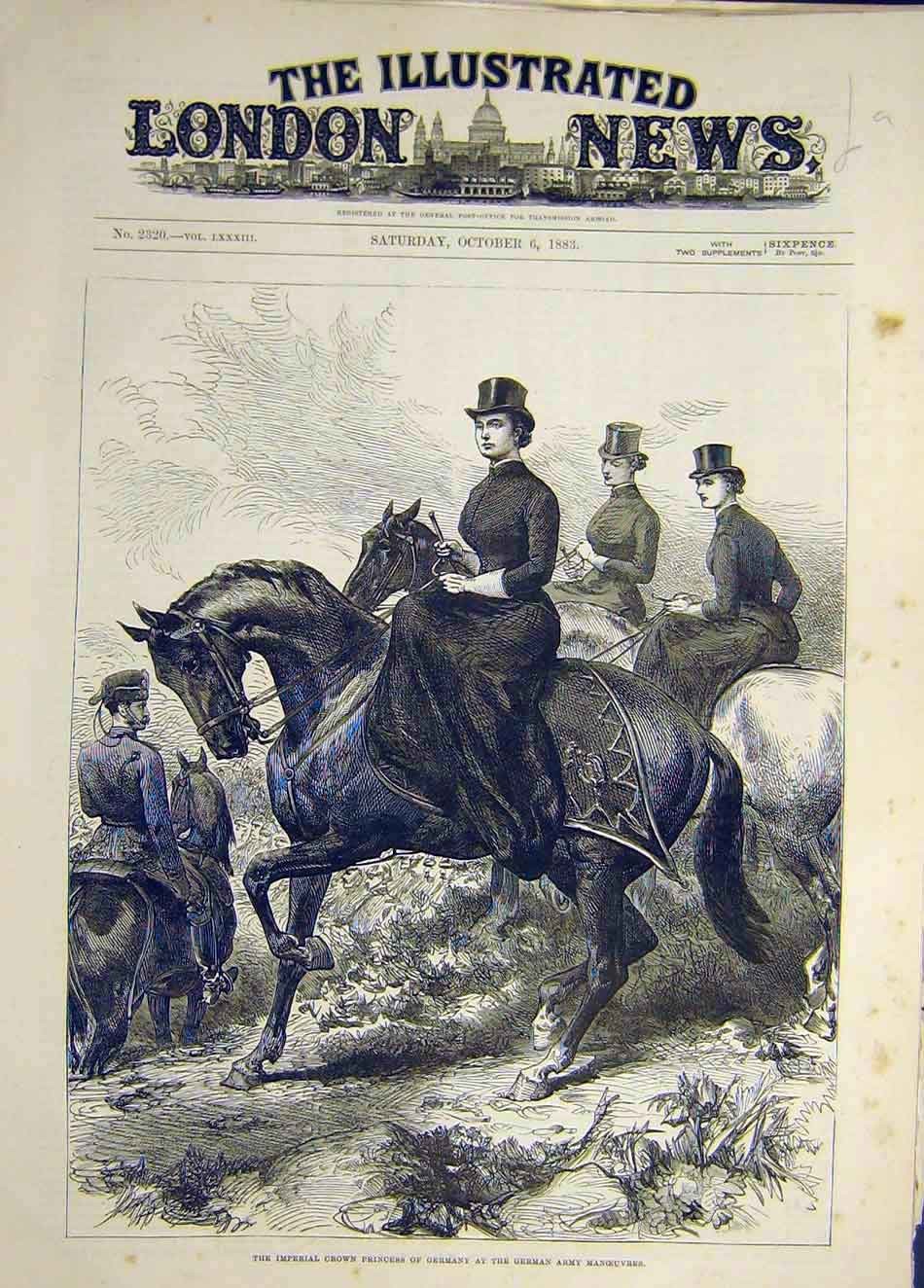 Print 1883 Imperial Crown Princess Germany Army Manoeuvres 337921 Old Original