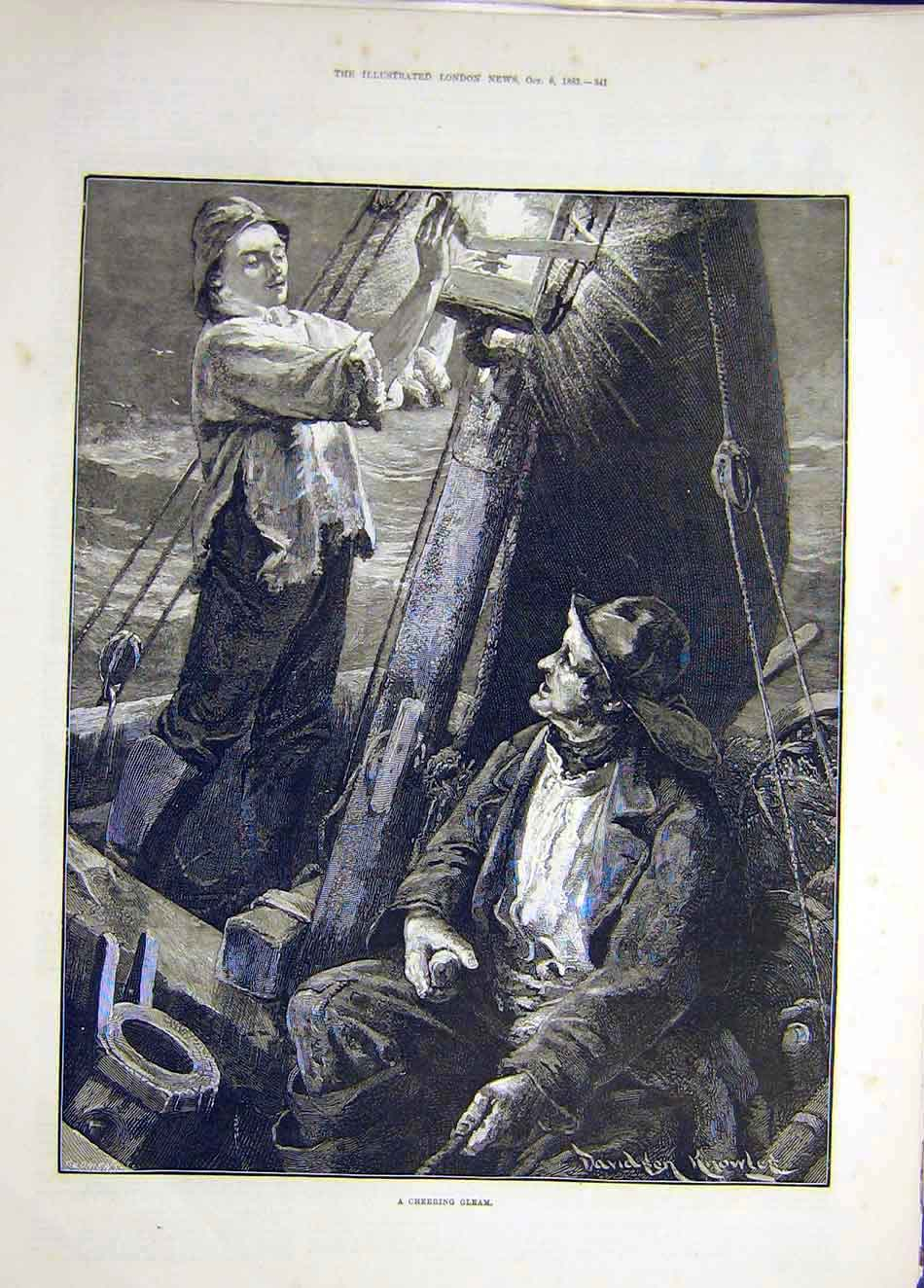 Print 1883 Cheering-Gleam Light Boat Knowles 357921 Old Original