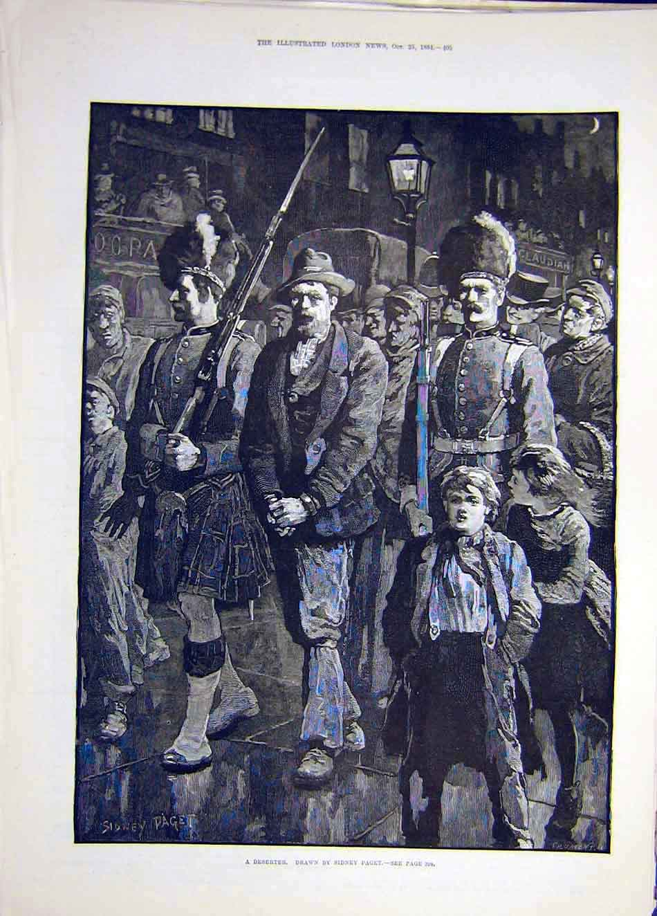 Print 1884 Deserter Paget Prisoner Soldier Troops 387921 Old Original