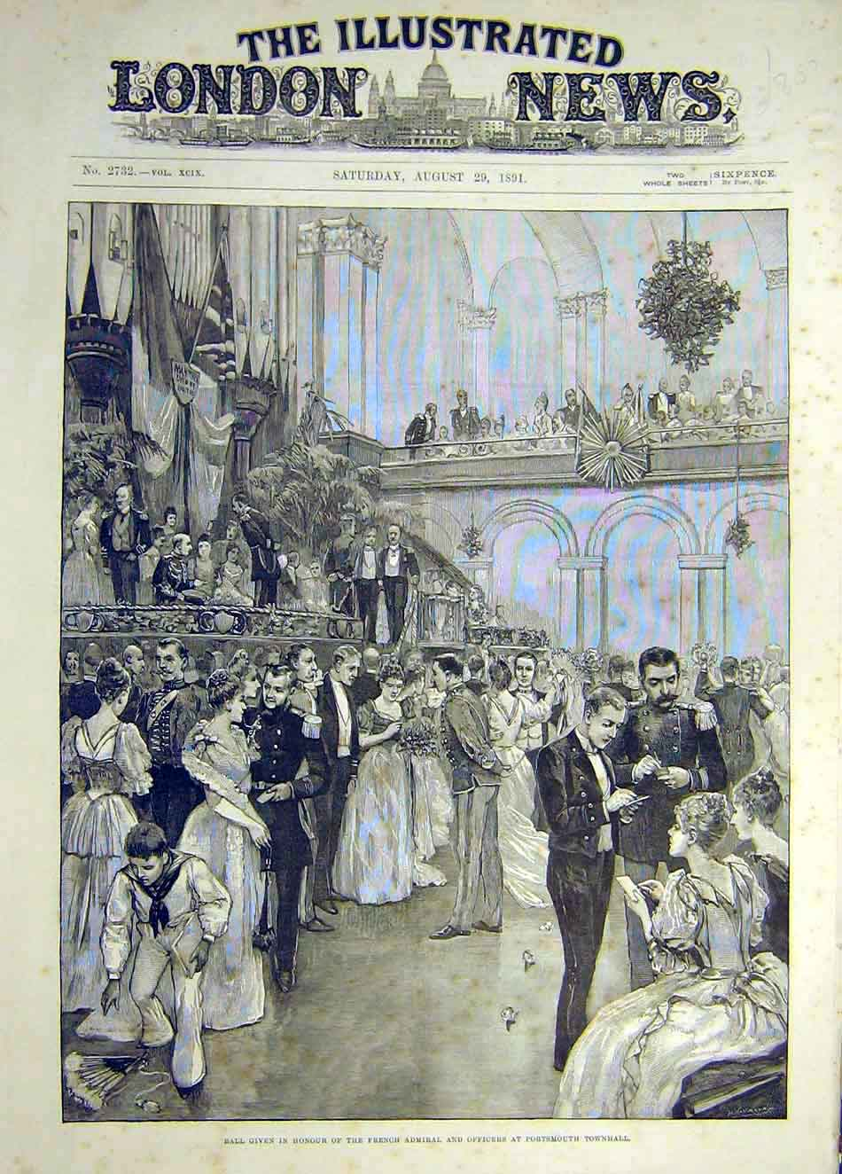 Print 1891 Ball French Admiral Officers Portsmouth Townhall 407921 Old Original