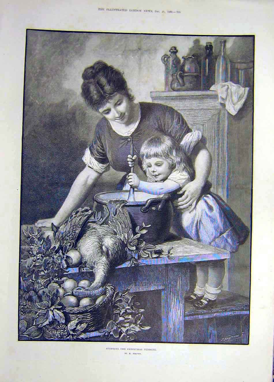 Print 1889 Christmas Pudding Cook Child Lady Bird Brown 427921 Old Original