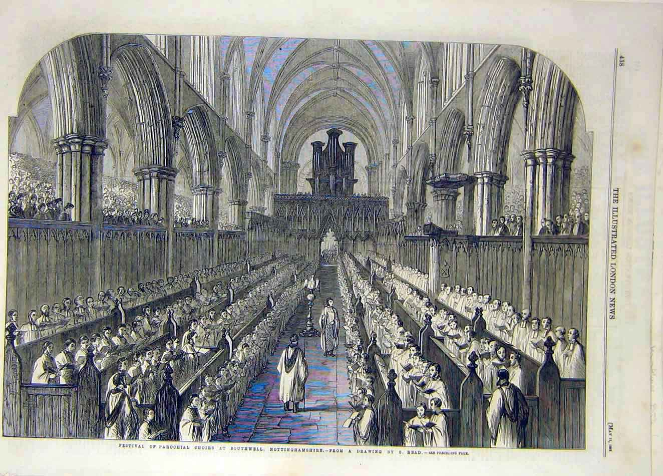 Print 1861 Festival Parochial Choirs Southwell Read 467921 Old Original