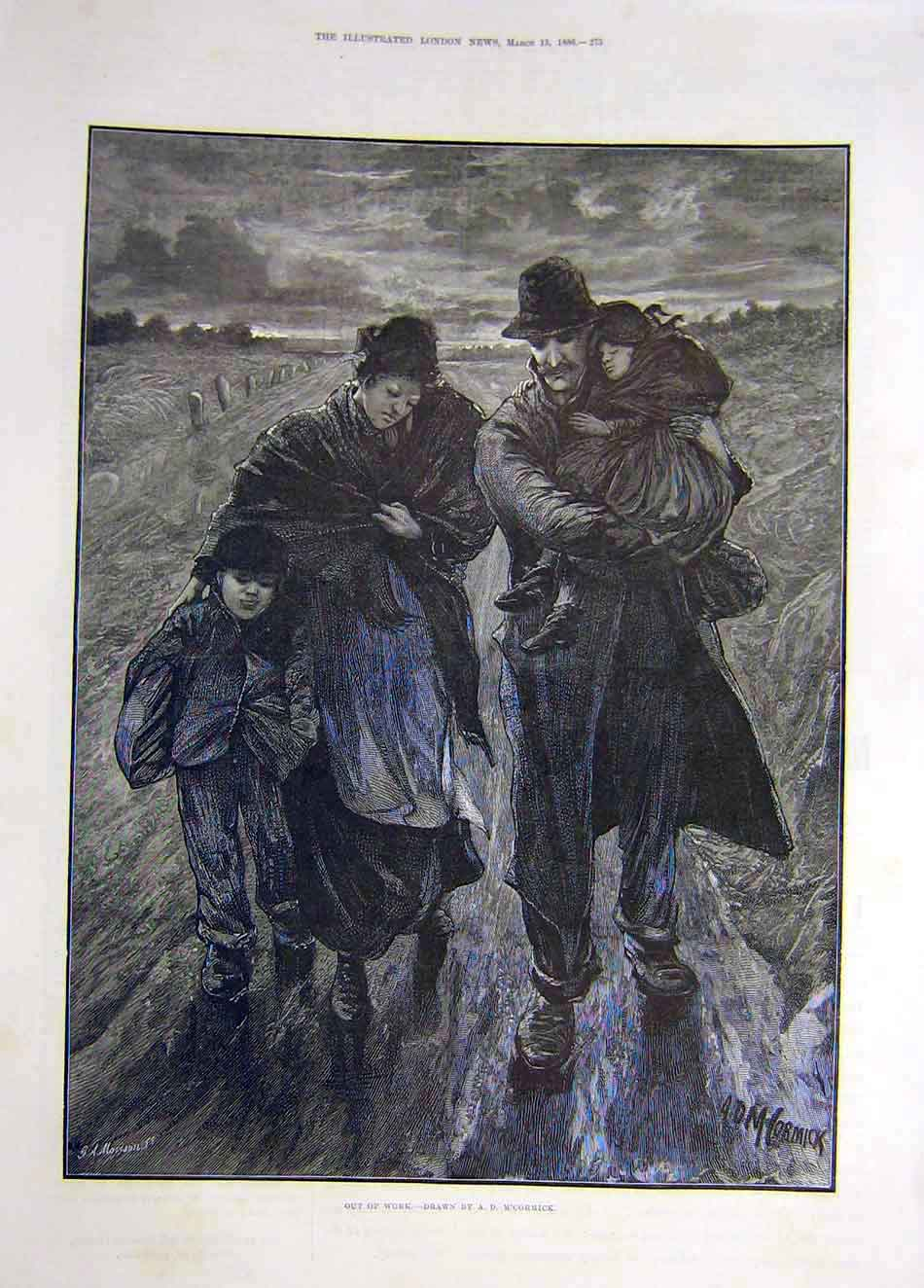 Print 1886 Out-Of-Work M'Cormick Family Travellers 637921 Old Original