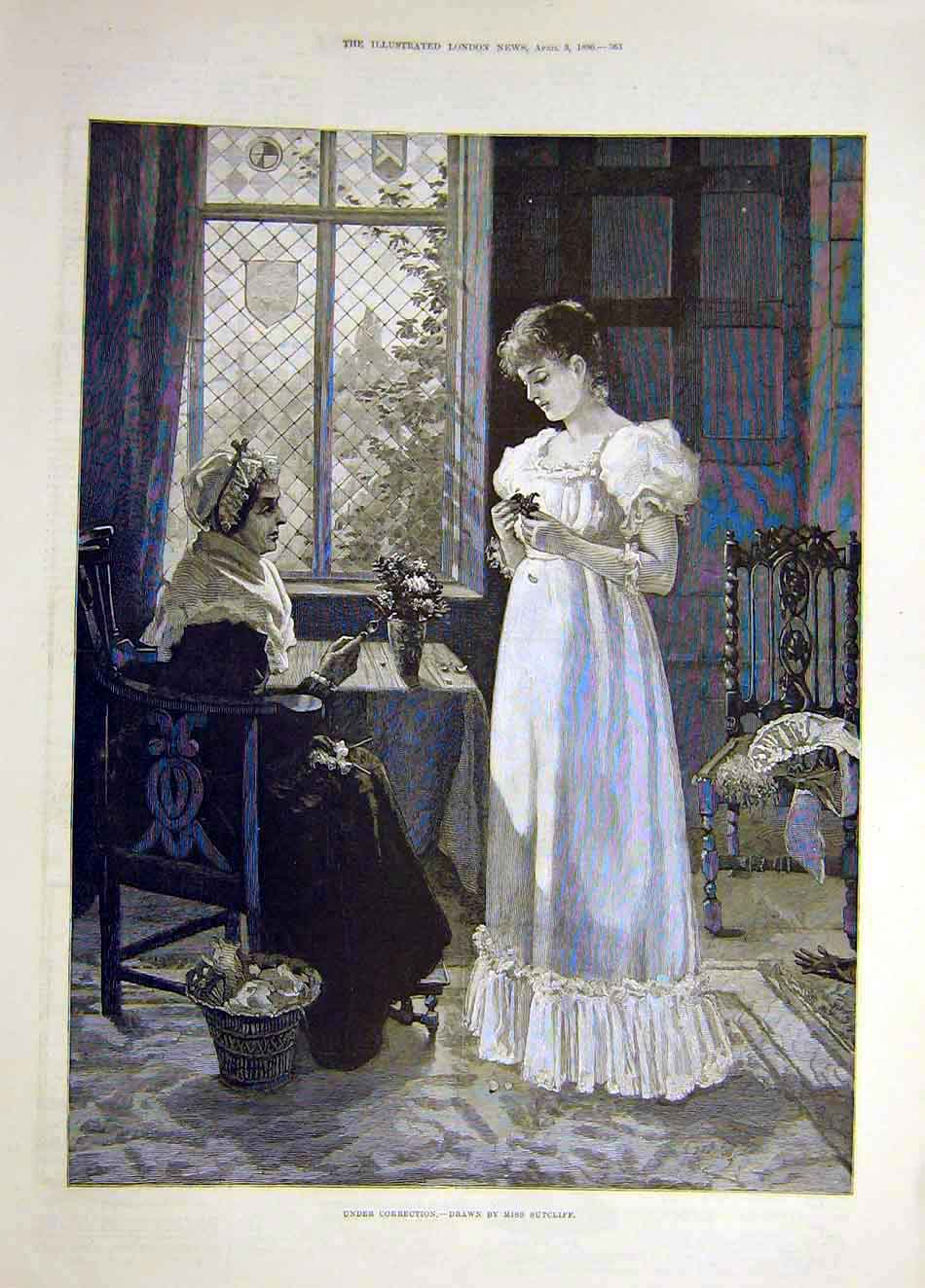 Print 1886 Sutcliffe Correction Ladies Old-Woman Child 647921 Old Original