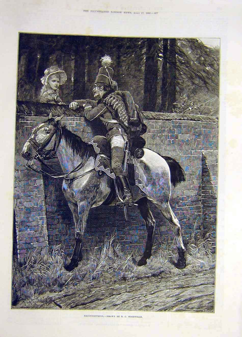 [Print 1886 Reconnoitering Soldier Lady Woodville Fine Art 657921 Old Original]