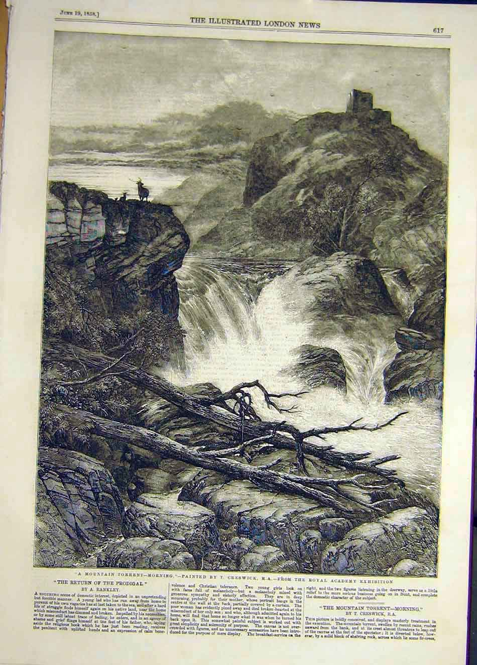 Print 1858 Mountain Torrent Morning Creswick 767921 Old Original