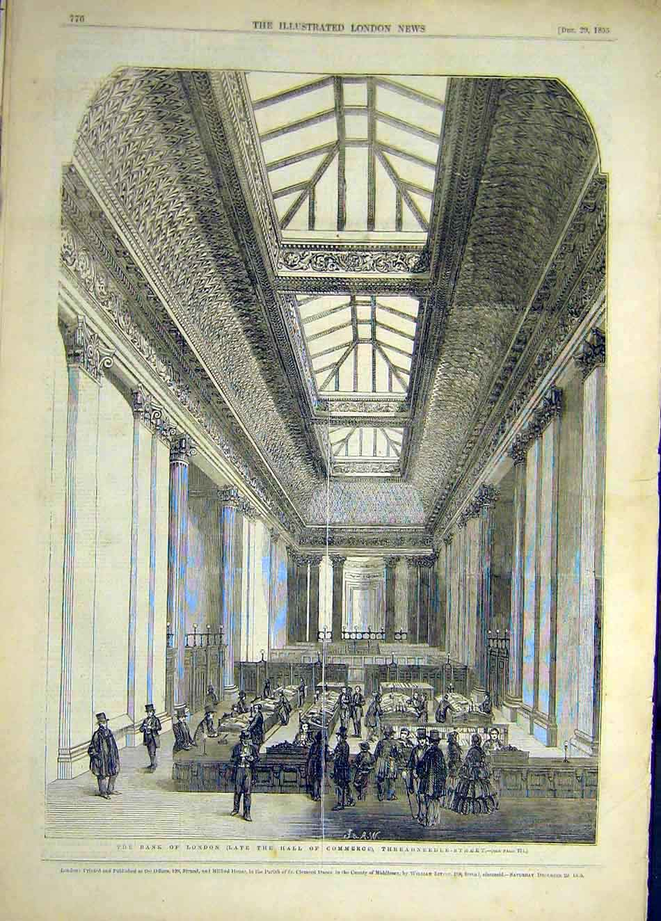 Print 1855 Bank London Hall Commerce Threadneedle Street 857921 Old Original