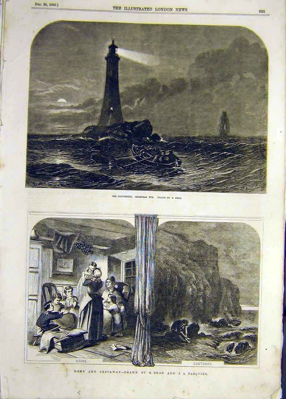 Print 1856 Lighthouse Christmas Read Home-Castaway Pasquier 897921 Old Original