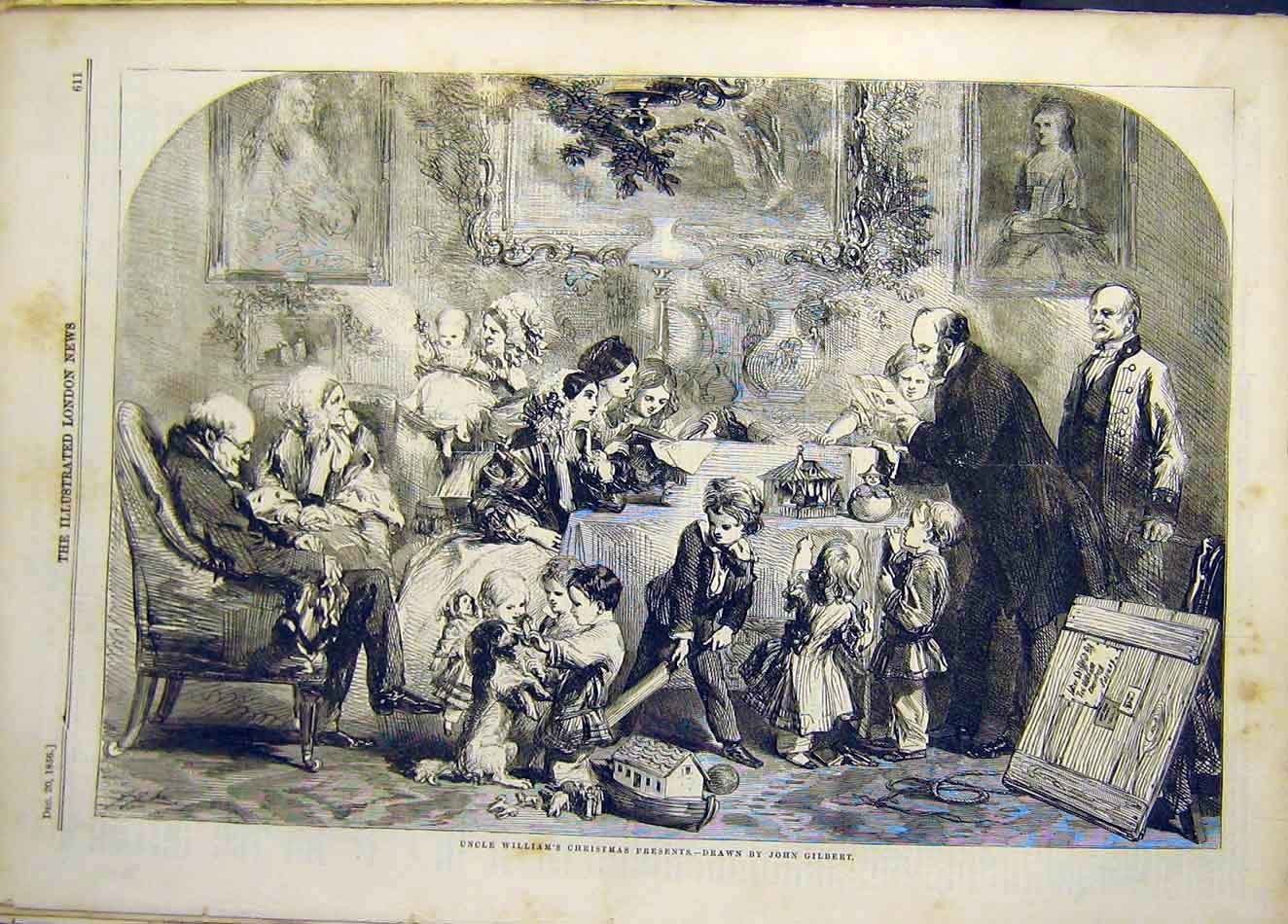 Print 1856 Christmas Presents Uncle-William Gilbert 917921 Old Original