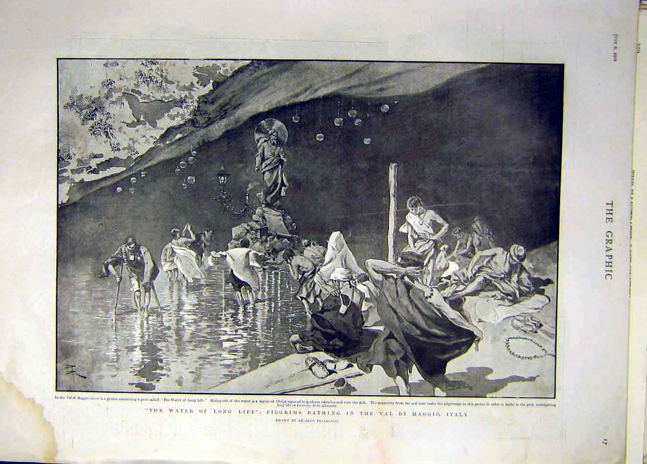 Print 1901 Pilgrims Bathing Val-Di-Maggio Italy Waters 937921 Old Original